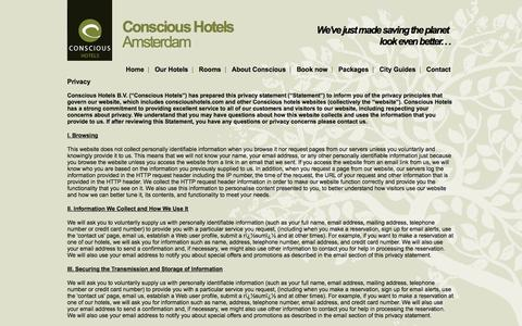 Screenshot of Privacy Page conscioushotels.com - Privacy | Conscious Hotels Amsterdam - captured Sept. 30, 2014