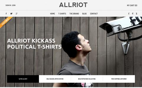 Screenshot of Home Page allriot.com - Political T-Shirts, Funny T-Shirts & UK Urban Streetwear Clothing | ALLRIOT - captured Oct. 7, 2014