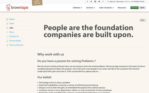 Screenshot of Jobs Page browntape.com - Jobs – Browntape - captured Nov. 8, 2018