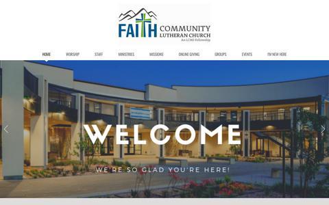 Screenshot of Home Page faithlasvegas.org - Faith Community Lutheran Church | Home - captured Sept. 30, 2019