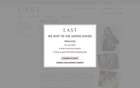 Screenshot of About Page east.co.uk - About East - captured May 11, 2017