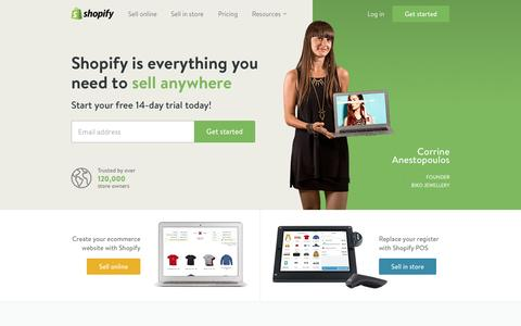 Screenshot of Home Page shopify.com - Ecommerce Software, Online Store Builder, POS - Free 14-day Trial by Shopify - captured Jan. 14, 2015