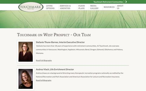 Screenshot of Team Page touchmarkappleton.com - Touchmark on West Prospect Appleton, WI | Our Team - captured Oct. 20, 2018