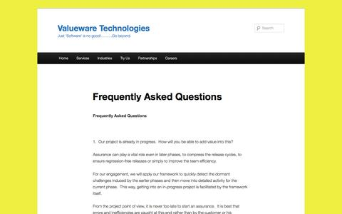 Screenshot of FAQ Page valueware.co.in - Frequently Asked Questions   Valueware Technologies - captured Dec. 11, 2016