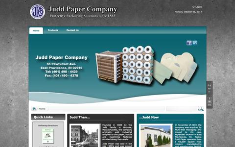Screenshot of Home Page juddpaper.com - Home - captured Oct. 6, 2014