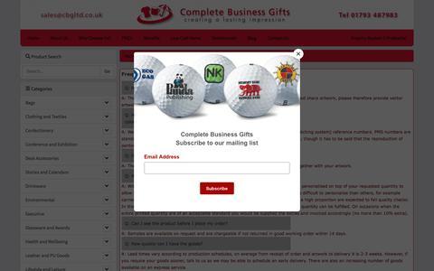 Screenshot of FAQ Page cbgltd.co.uk - FAQ's :: Complete Business Gifts - captured Jan. 21, 2018