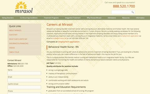 Screenshot of Jobs Page mirasol.net - Job Openings and Career Opportunities for Health Professionals at Mirasol in Tucson, Arizona - captured Nov. 5, 2017