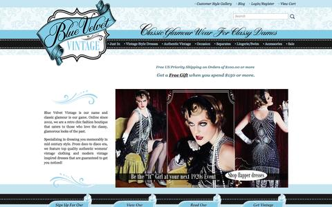 Screenshot of Home Page bluevelvetvintage.com - Classic Vintage Clothing-Classy Retro Dresses-Blue Velvet Vintage - captured Sept. 10, 2016