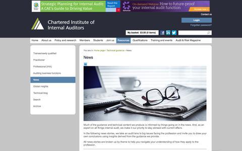 Screenshot of Press Page iia.org.uk - News   Technical guidance   IIA - captured Feb. 18, 2020