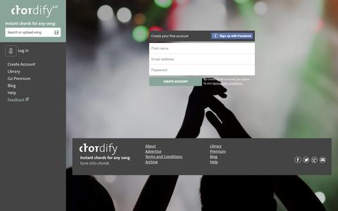 Screenshot of Signup Page chordify.net - Create your free account - Chordify - captured Oct. 1, 2015