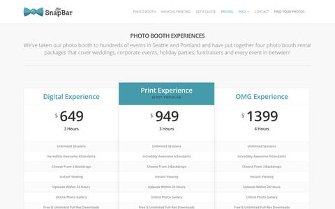 Screenshot of Pricing Page thesnapbar.com - Pricing & Services |  The SnapBar | Seattle Photo Booth & Hashtag Printing Company | Photo Booth Rentals In Portland Too - captured Jan. 11, 2016
