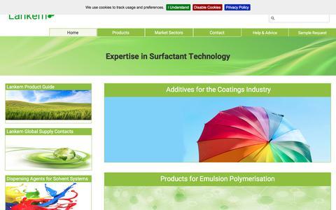 Screenshot of Home Page lankem.eu - Lankem Surfactants - Speciality Surfactants ¦ Lankem Surfactants - captured Sept. 24, 2018