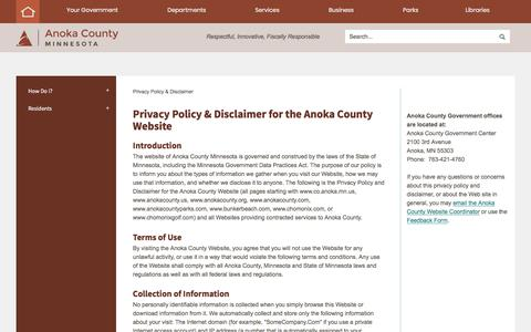 Screenshot of Privacy Page anokacounty.us - Privacy Policy & Disclaimer for the Anoka County Website   Anoka County, MN - Official Website - captured July 3, 2018