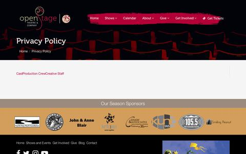 Screenshot of Privacy Page openstage.com - Privacy Policy | OpenStage Theatre & Company - captured Nov. 2, 2017