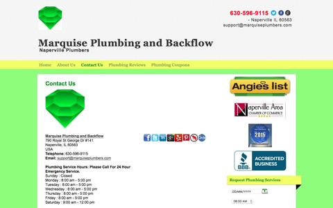 Screenshot of Contact Page marquiseplumbers.com - Contact Us - Marquise Plumbing and BackflowMarquise Plumbing and Backflow - captured Nov. 27, 2016