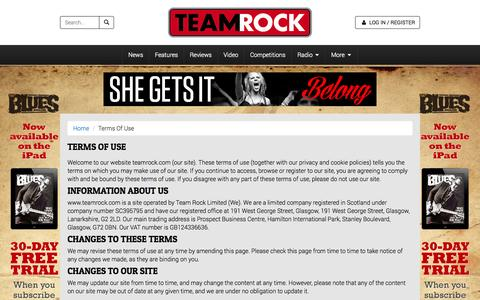 Screenshot of Terms Page teamrock.com - TeamRock - captured Oct. 22, 2014