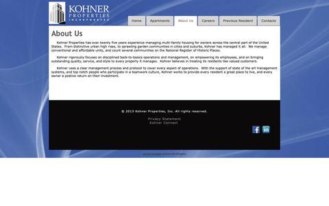 Screenshot of About Page kohner.com - Kohner Properties, Inc. - About Us - captured Oct. 16, 2018