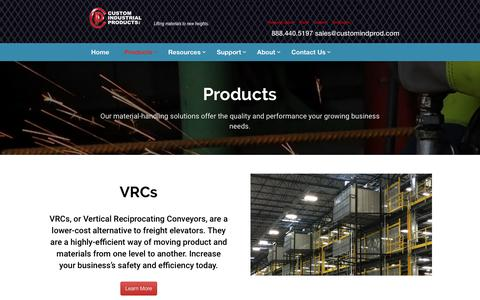 Screenshot of Products Page customindprod.com - Material Handling Solutions | Custom Industrial Products - captured Jan. 26, 2020