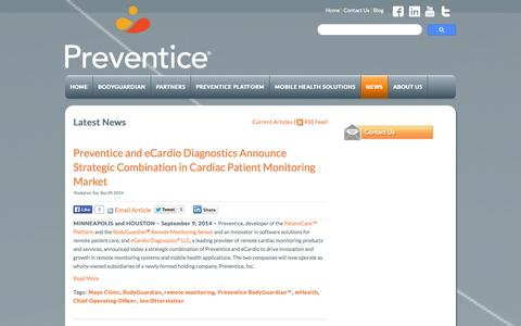Screenshot of Press Page preventice.com - Press Releases | Preventice - captured Sept. 12, 2014