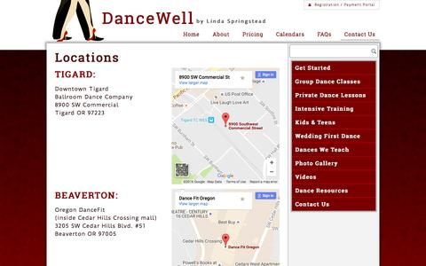 Screenshot of Locations Page dancewellballroom.com - Locations | Dance Classes and Lessons | Tigard and Beaverton - captured Nov. 23, 2016