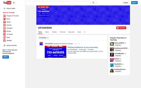 Screenshot of YouTube Page youtube.com - USTAXESINC  - YouTube - captured Oct. 29, 2014