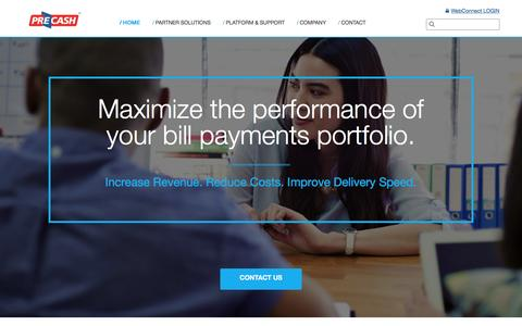 Screenshot of Home Page precash.com - PreCash | Maximize Your Bill Payments Porftolio - captured Jan. 23, 2016