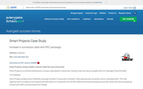 Screenshot of Case Studies Page avangate.com - Smart Projects Case Study - captured May 21, 2018