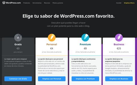 Screenshot of Pricing Page wordpress.com - Planes y precios de WordPress.com: empieza hoy mismo de manera gratuita. - captured Sept. 21, 2018