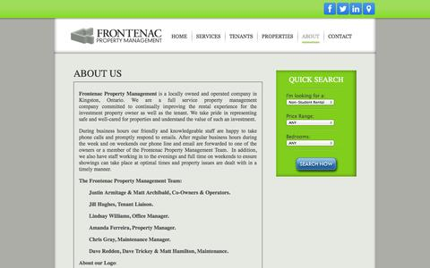 Screenshot of About Page frontenacproperty.com - About Us | Frontenac Property Management | Kingston, Ontario - captured Oct. 6, 2014