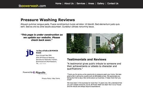 Screenshot of Testimonials Page jbpowerwash.com - Reviews | JB Power Wash - captured Sept. 30, 2014