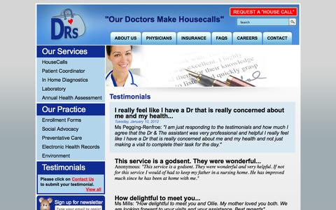 Screenshot of Testimonials Page drshousecalls.com - drshousecalls.com -  Testimonials - captured Sept. 30, 2014