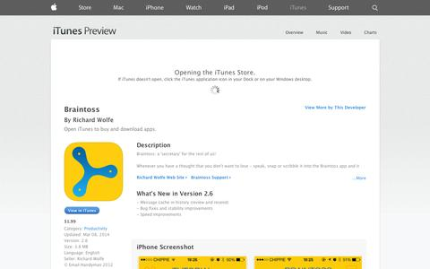 Screenshot of iOS App Page apple.com - Braintoss on the App Store on iTunes - captured Oct. 23, 2014