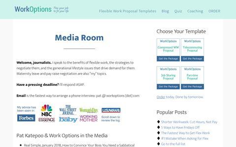 Screenshot of Press Page workoptions.com - Media Room for Flexible Work Expert, Pat Katepoo - captured June 27, 2018