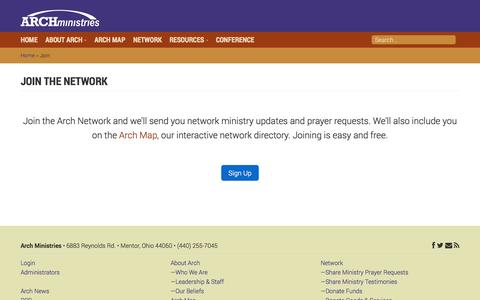 Screenshot of Signup Page archmin.org - Join - Arch Ministries - captured Nov. 2, 2014