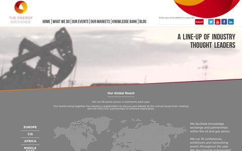 Screenshot of Home Page theenergyexchange.co.uk - The Energy Exchange | We run 18 upstream events across 4 continents each year - captured Jan. 11, 2016