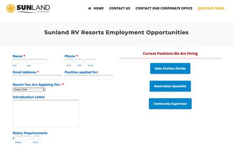 Screenshot of Jobs Page sunlandrvresorts.com - Join the Sunland team today. Apply for one of our positions! - captured Nov. 17, 2018