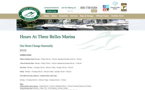 Screenshot of Hours Page threebellesmarina.com - Hours | Niantic CT | Three Belles Marina - captured Sept. 30, 2014