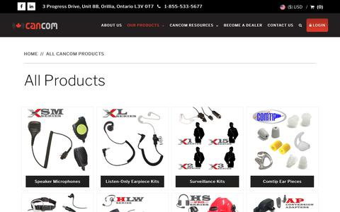 Screenshot of Products Page cancomradioaccessories.com - All Products - CanCom Radio Accessories Orillia - captured Sept. 25, 2018