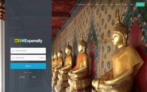 Screenshot of Login Page expensify.com - Expensify - Sign In - captured Sept. 12, 2014