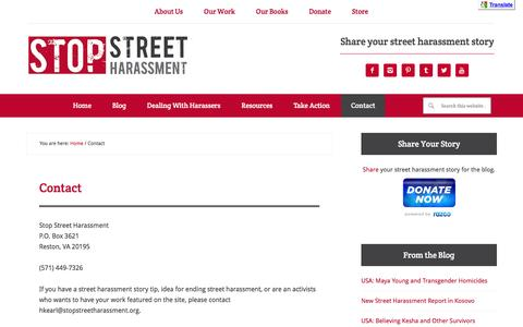 Screenshot of Contact Page stopstreetharassment.org - Contact | Stop Street Harassment - captured Feb. 26, 2016