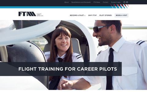 Screenshot of Home Page fta-global.com - FTA - Pilot Flight Training Academy UK - captured Oct. 5, 2014