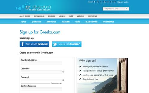 Screenshot of Signup Page greeka.com - Greeka.com registration page - captured Sept. 22, 2014