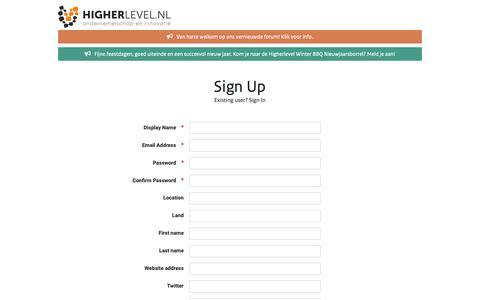 Screenshot of Signup Page higherlevel.nl - Registration - Higherlevel - captured Dec. 13, 2018