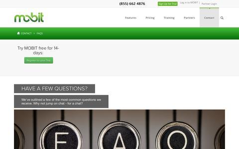 Screenshot of FAQ Page mobit.com - FAQs - captured Sept. 22, 2015