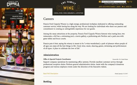 Screenshot of Jobs Page francisfordcoppolawinery.com - Francis Ford Coppola Winery | Geyserville, CA - captured Jan. 17, 2017