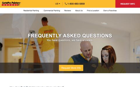Screenshot of FAQ Page certapro.com - Frequently Ask Questions | Franchise Ownership | CertaPro Painters® - captured July 16, 2019