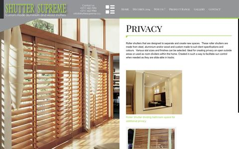 Screenshot of Privacy Page shuttersupreme.co.za - Roller Shutter - Shutter Supreme - captured Sept. 30, 2014