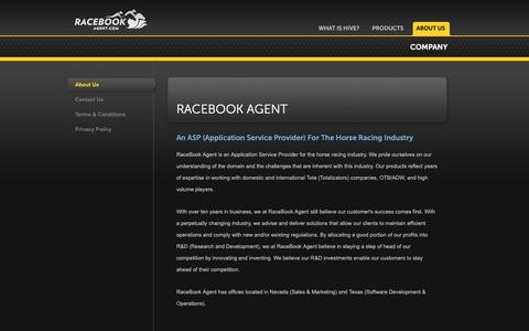 Screenshot of About Page Privacy Page Contact Page Terms Page racebookagent.com - RaceBook Agent - About RaceBook Agent - captured Oct. 18, 2018