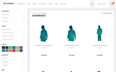Screenshot of wildcraft.in - Wildcraft Men's Rainwear - Buy Hiking Rainwear Online in India - captured March 19, 2016