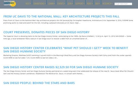 Screenshot of Press Page sandiegohistory.org - Press Releases Archive - - captured Nov. 19, 2016